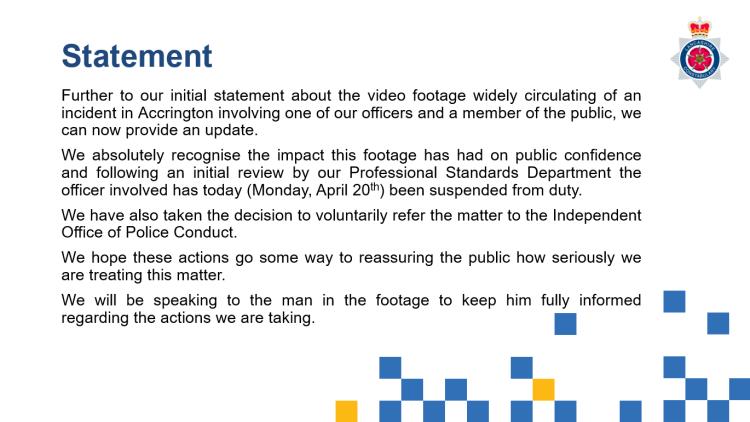 Lancashire Police Statement 20 April 2020