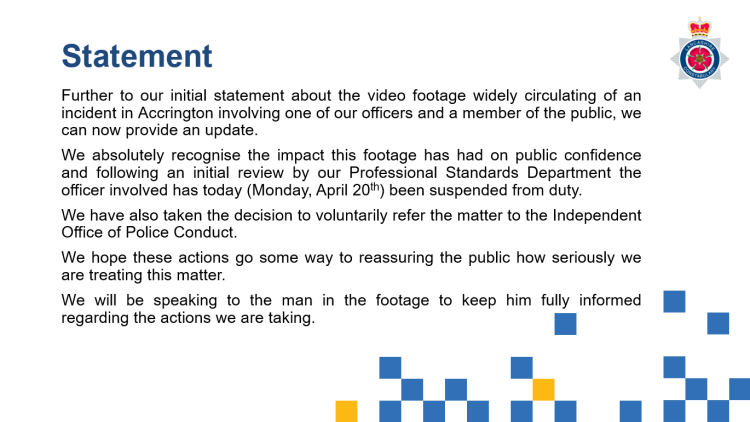 Lancashire Police Statement 20 April 2020