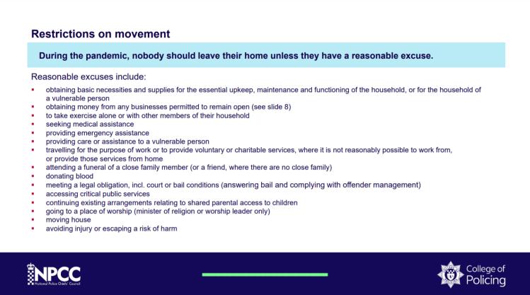 NPCC CoP Guidance On Movement Restrictions