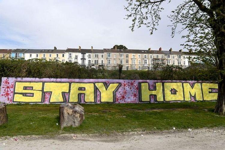 Stay Home graffiti in Swansea